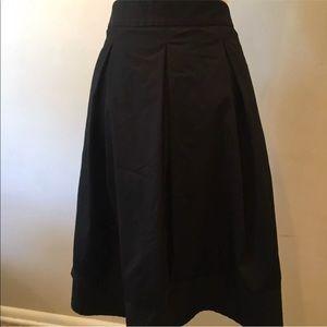 Ann Taylor Womens Black Pleated Full Skirt Size 14